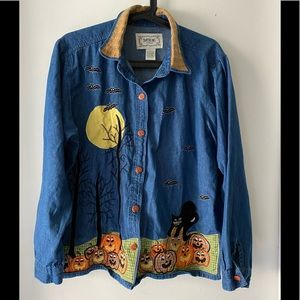 🎉3/$25 Vintage 90s Halloween Denim Shirt